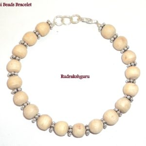 Tulsi Beads Bracelet with German Silver Spacers