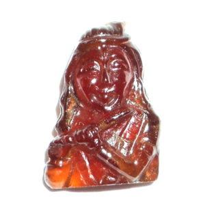 Lord Krishna In Natural Hessonite