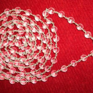 Quartz Crystal Mala Diamond Cut In Silver