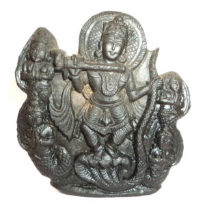 Lord Krishna Murti Dancing on Kaliya Snake Carved on Natural Sudarshan Shaligram