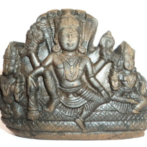 Lord Vishnu With Sridevi and Bhudevi carved on natural sudarshan shaligram