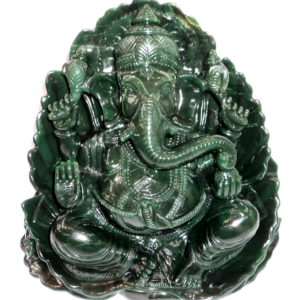 Lord Ganesha In Natural Columbian Green Jade