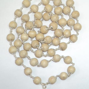 White Tulsi Mala in Silver - 55 Beads
